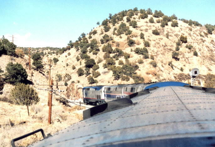 Train entering narrow Apache Canyon.